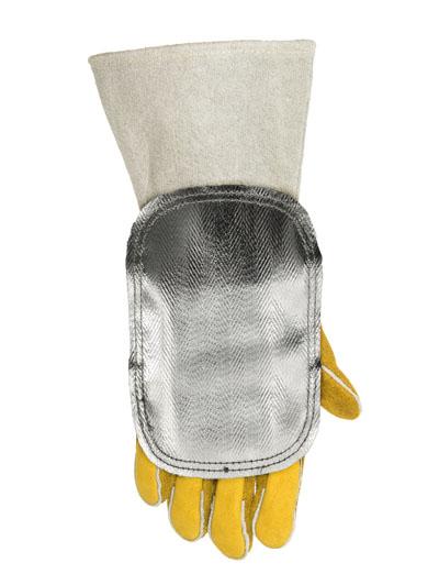 44-3006LB, 44-3006LB/PR (=pair) Protecţie aluminizată pentru mâna la căldură ridicată, partea dorsală din piele