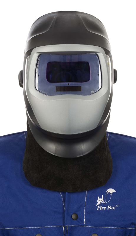 44-7184 Protecție frontală pentru gât din piele șpalt neagră de bovină