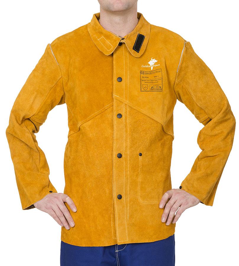 44-2530 Golden Brown™ jachetă de sudură din şpalt de vită cu spatele din bumbac ignifug