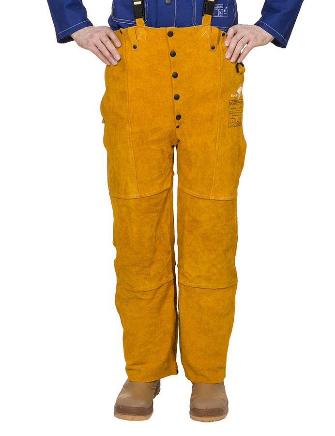44-2648 Golden Brown™ pantaloni de sudură cu pieptar din şpalt de vită
