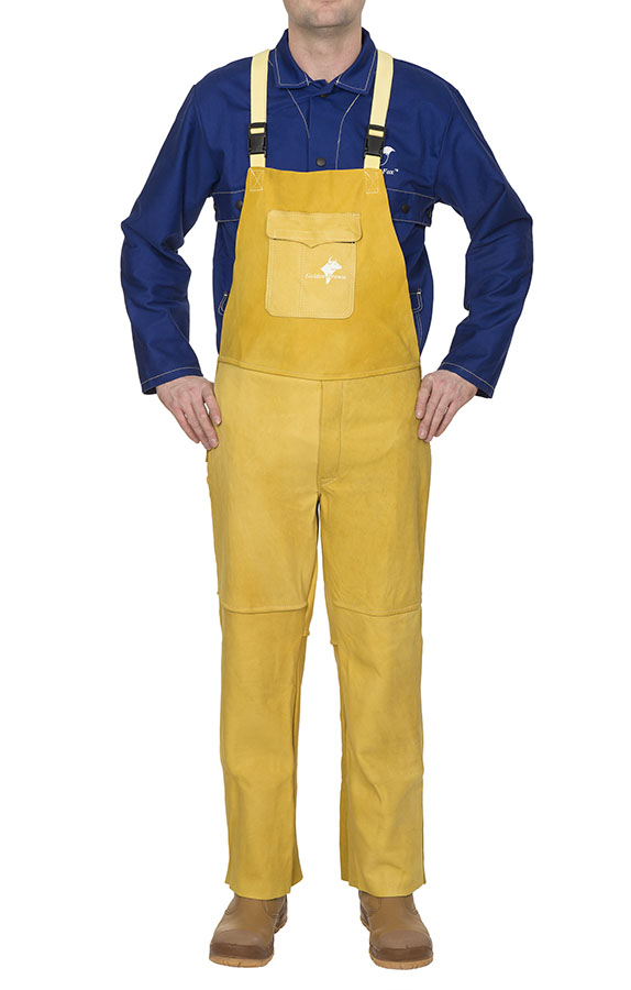 44-5600 Golden Brown™ pantaloni de sudură cu pieptar din piele box de vită