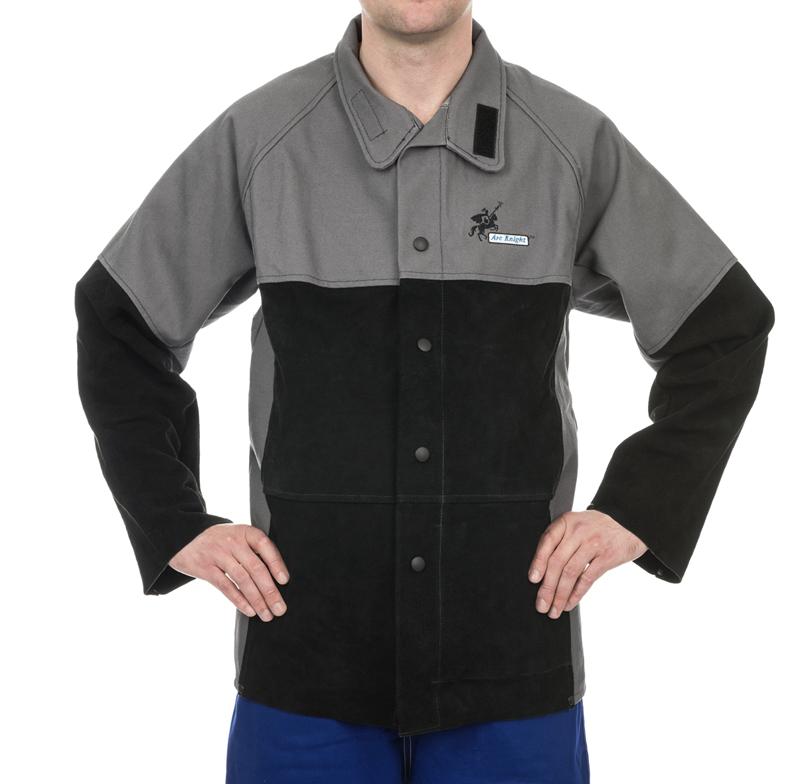 38-4350 Jachetă sudură Arc Knight™, bumbac ignifug 520 gr./m2 cu întărituri din piele șpalt bovină
